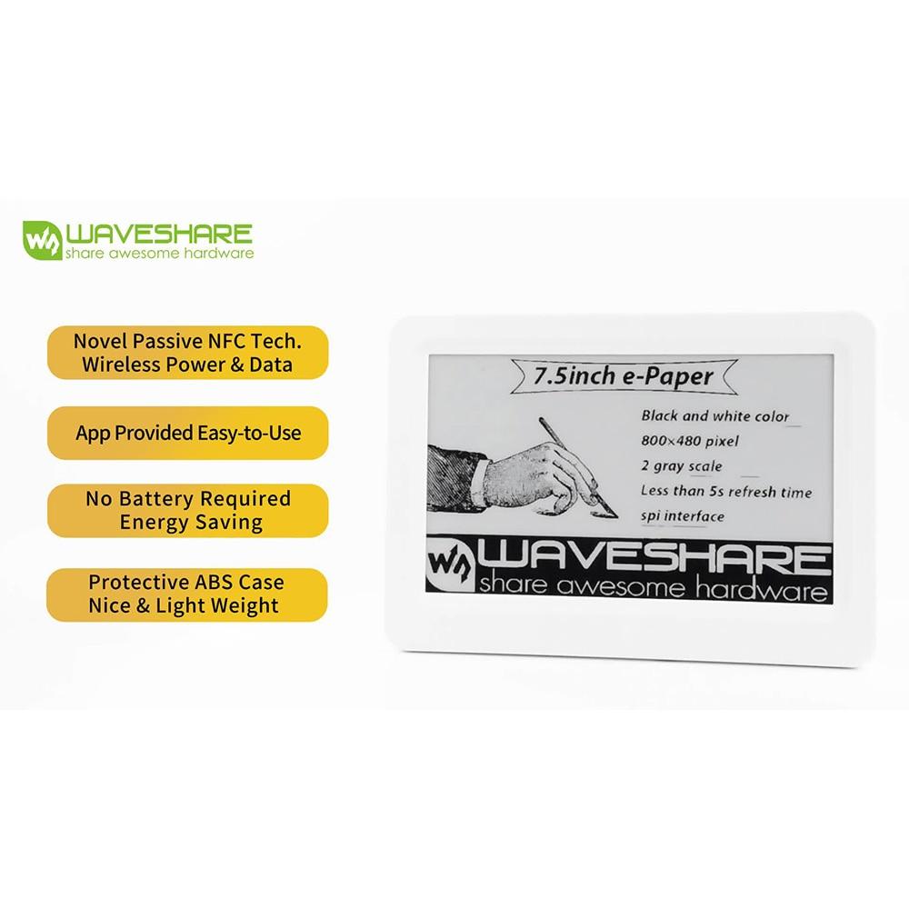 Waveshare 7.5inch Passive NFC-Powered e-Paper, No Battery, Wireless Powering & Data Transfer