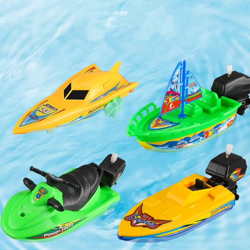 1pc Speed Boat Ship Wind Up Toy Float In Water Kids Toys Classic Clockwork Toys Summer Shower Bath Toys for Children Boys Gifts
