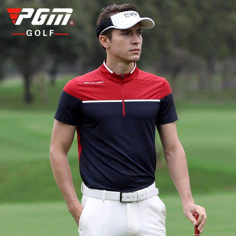 Pgm de alta qualidade vestuário masculino manga curta camiseta tecido secagem rápida verão roupas golfe tênis beisebol esportes wear respirável