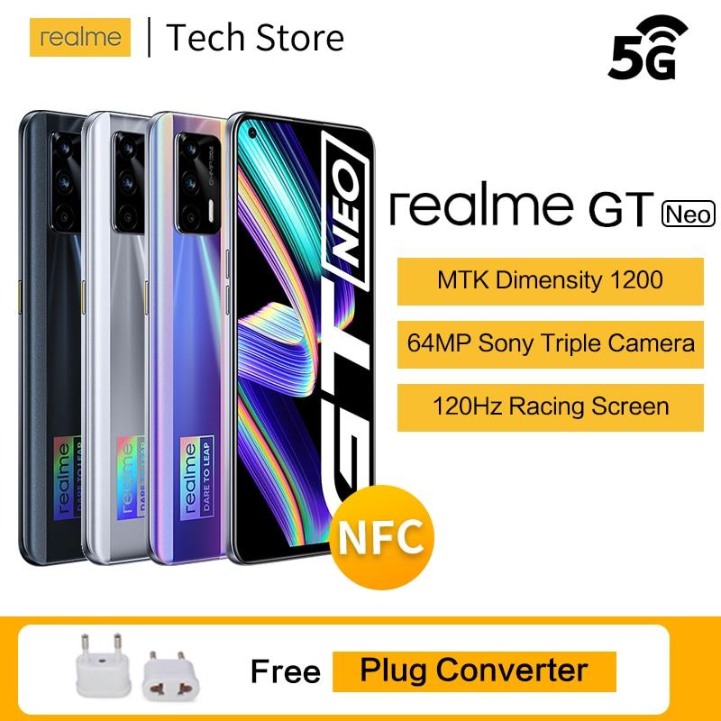Оригинальный realme GT neo 5G MTK Dimensity 1200 смартфон 120 Гц Super AMOLED Экран 50 Вт мгновенная Зарядка для сотового телефона 64MP Android телефон
