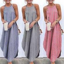 Moda verão feminino em torno do pescoço 2020 casual robe plus size vestidos xadrez impressão cauda de andorinha sling vestido casual robe plus size ves