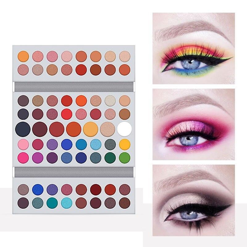 Paleta de sombra de ojos mate de 71 colores a prueba de agua no teñida luz duradera maquillaje sombra de ojos bandeja