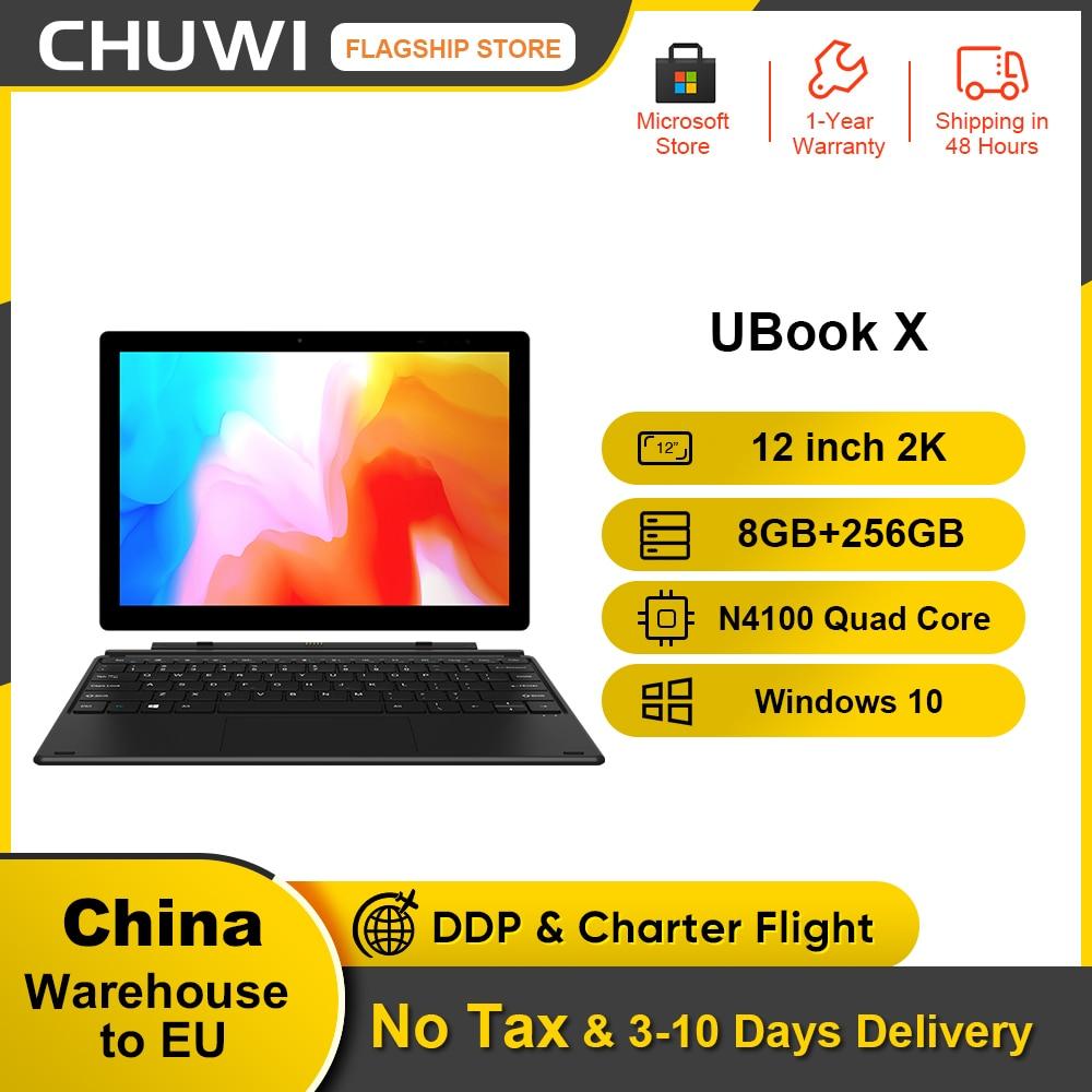 CHUWI-كمبيوتر لوحي UBook X مقاس 12 بوصة ، Intel Gemini Lake N4100 Duad Core ، دقة 2160*1440 ، 8 جيجا بايت رام ، 256 جيجا بايت SSD ، بلوتوث 5.0
