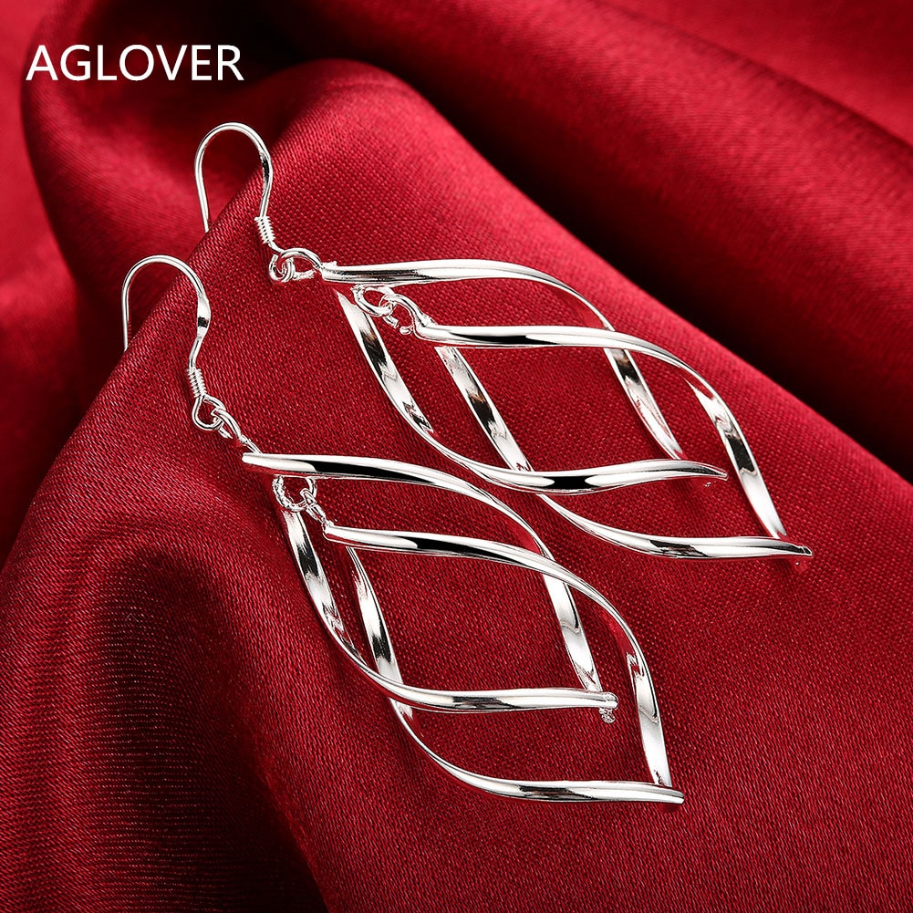 AGLOVER 2021 New Arrival 925 Silver Jewelry Women High Quality Long Earrings Hanging Drop Earring Gift