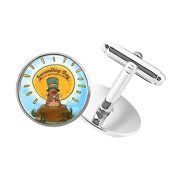 Gemelos de broche con Clip de botón redondo para el día de la Marmota, Estados Unidos, América, Canadá, Festival