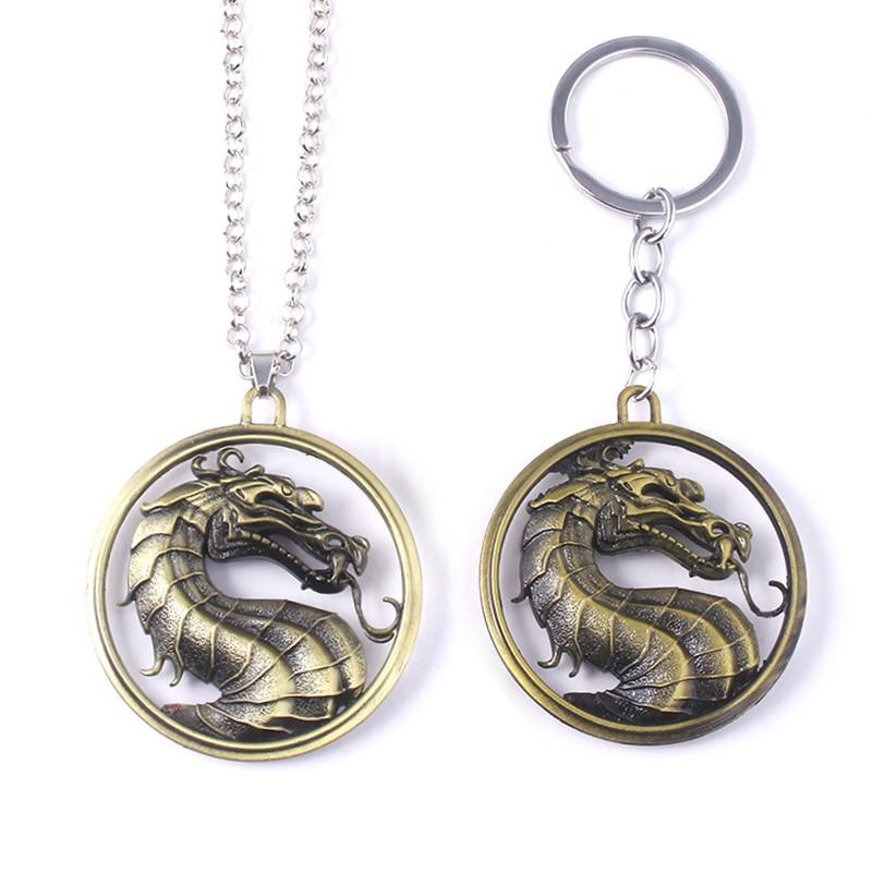 Juego de lucha Mortal Kombat colgante collar Vintage de moda dragón Logo llavero de regalo para nacimiento coche llavero joyería para hombre