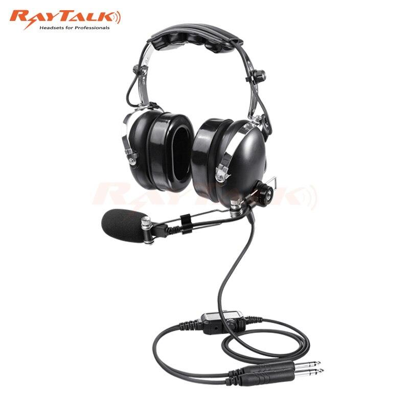 Auriculares de aviación, micrófono con cancelación Nosic, Boom de Metal ajustable, soporte de música MP3, enchufe de aviación General (GA)