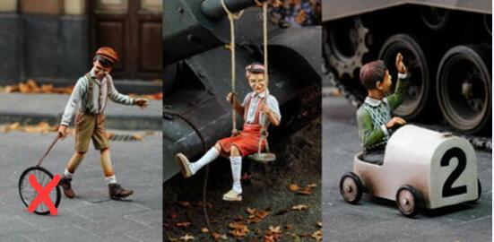 1/35 juego para niños (3 figuras), figura de resina en miniatura, kits gk en miniatura sin montar
