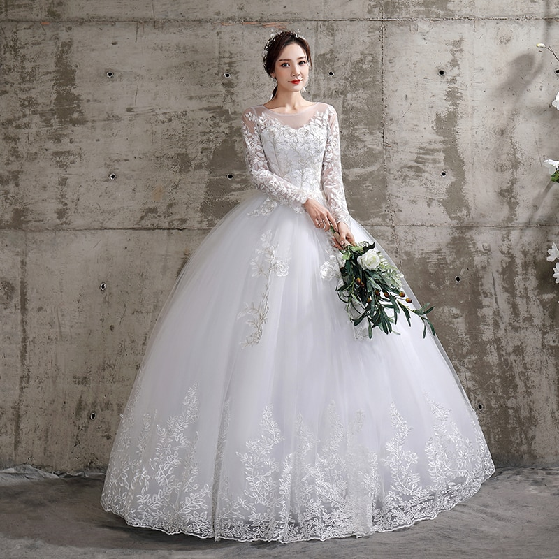 Flower Wedding Dress 2020 New Style Bride Plus Size Flower Wedding Dresses Dreamy Full-sleeve Bridal Lace Up Dresses Ball Gowns