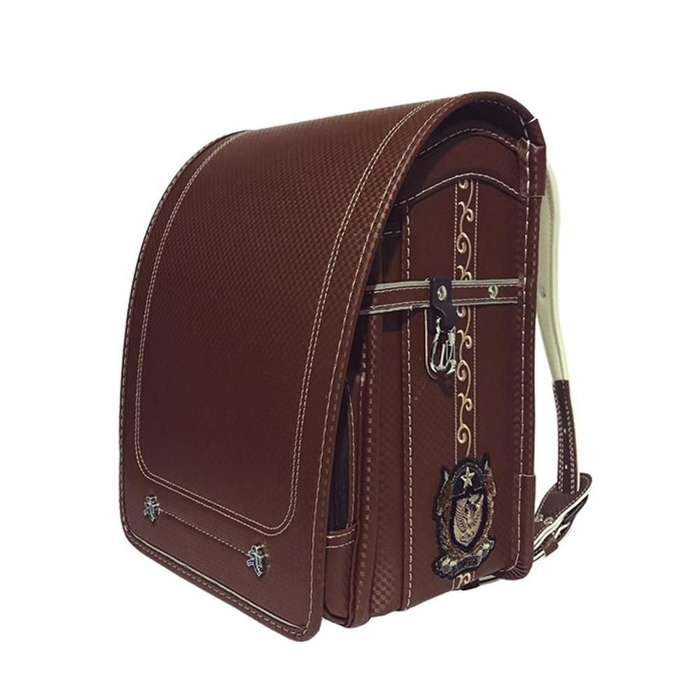 Школьные ранцы Randoseru для мальчиков, Детский рюкзак из искусственной кожи, однотонные водонепроницаемые Роскошные школьная сумка в японском...
