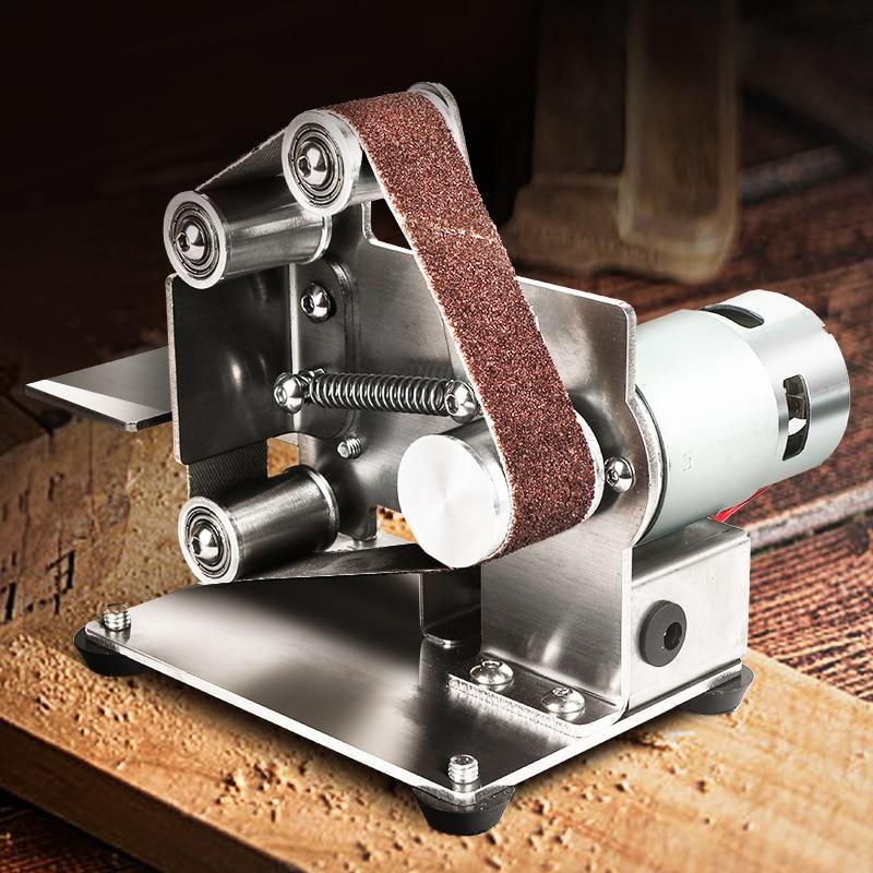 Mini Electric Belt Sander DIY Polishing Grinding Machine Fixed Angle Sharpening Machine Blade Desktop Cutter Edges Power Tool