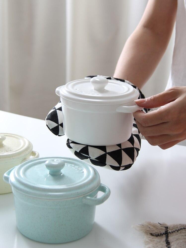 Molde para hornear de cocina de 2 tamaños con cubierta, vajilla de cerámica, Bol para pudín, resistente al agua cazuela, olla lenta, tazón para postre