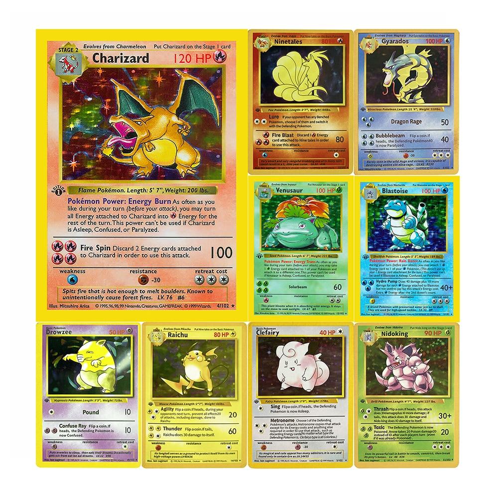 10-шт-компл-1999-карты-pokemon-1-е-издание-charizard-raichu-mew-vulpix-venusaur-коллекционные-игрушки-первого-поколения