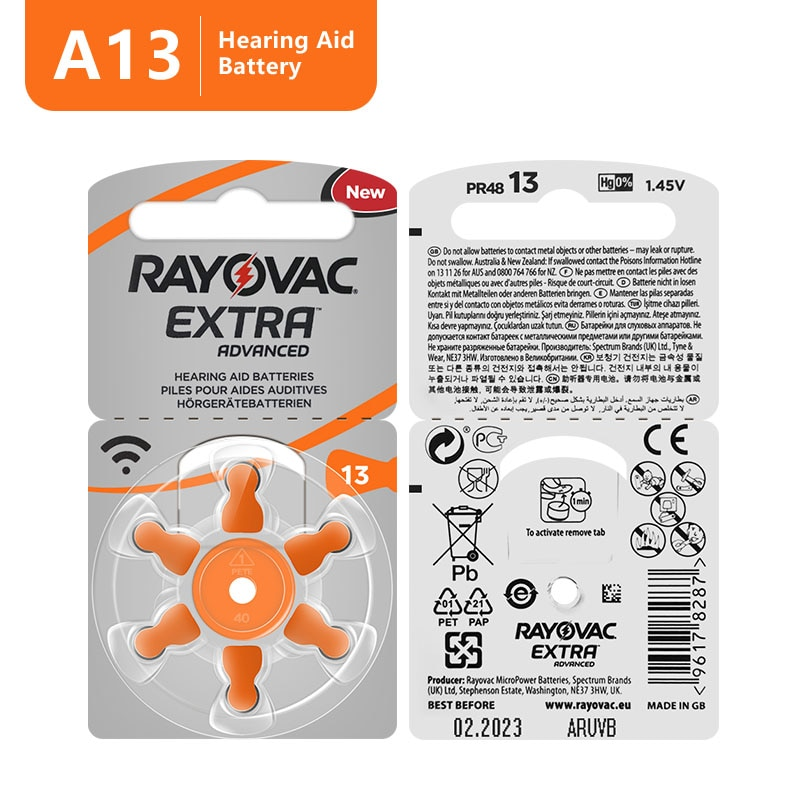 60 PCS Rayovac Extra High Performance Hearing Aid Batteries. Zinc Air 13/P13/PR48 Battery for BTE He