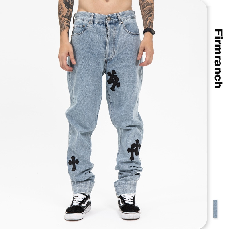 Firmranch New Genuine Leather Cross Jeans For Men 2021 High Street Blue Jeans Homme Loose Straight Hearts Pants Moto Trouse