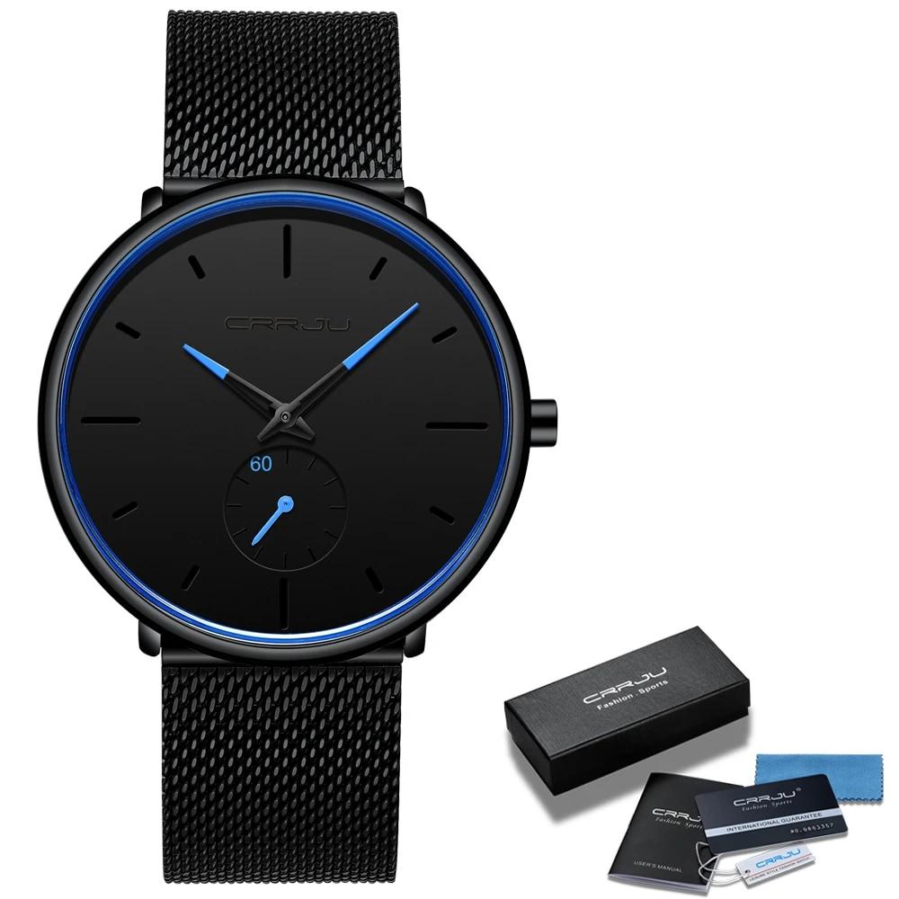 Fashion Mens Watches Crrju Top Brand Luxury Quartz Watch Men Casual Slim Mesh Steel Waterproof Sport Watch Relogio Masculino Quartz Watches Aliexpress