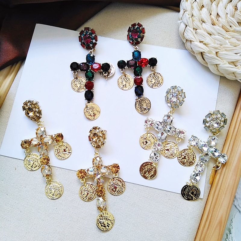Ztech, pendientes de moda Vintage de cristal Metal dorado con forma de moneda, con piedras preciosas, Pendientes colgantes para mujer, accesorios Brincos