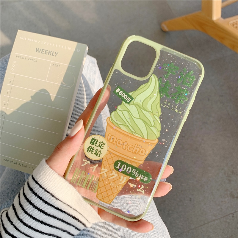 Cute Matcha Ice Cream Phone Case For iphone 11 Pro Xs Max SE 2 2020 7 8 plus X XR Cover Luxury Glitter Transparent Cases Capa
