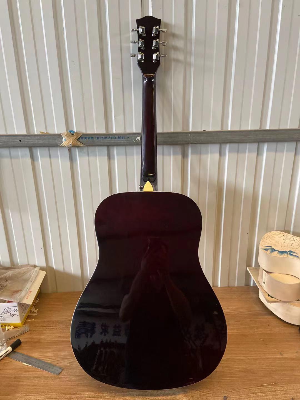 39 Inch Folk Guitar 6 Strings Acoustic Guitar High Quality Spruce Top Color Matte Black enlarge