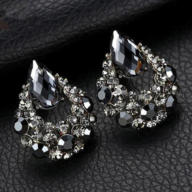 BYSPT pendientes de gota de agua de lujo pendientes de perno ovalados de cristal gris para mujeres Piercing joyería gota de agua pendientes