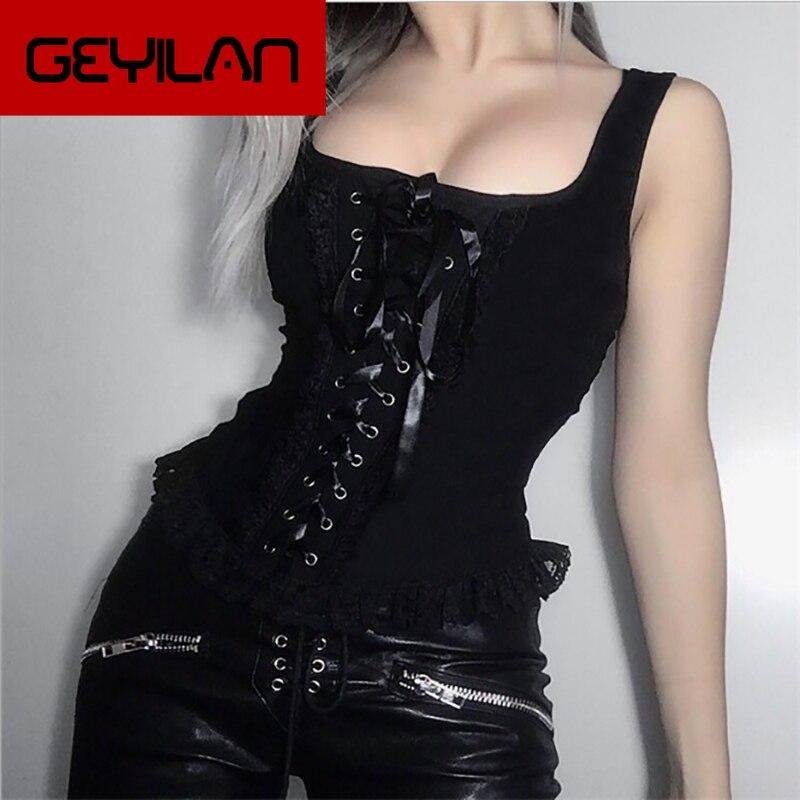 Camisetas sin mangas Grunge gótico transparente ahuecado entrecruzado vendaje Top verano Sexy malla de moda Ruch Ruffle Punk Tops