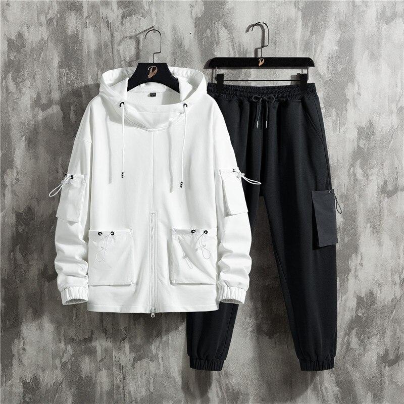 طقم ملابس رياضية للرجال لفصلي الربيع والخريف ، بدلة رياضية هيب هوب صلبة ، كنزة وسراويل ، جاكيت غير رسمي ، ملابس الشارع ، بدلة رياضية