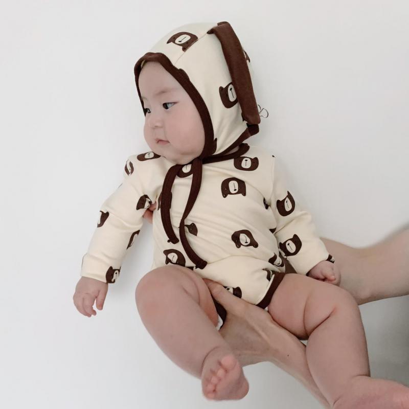 Осень 2021, боди с длинным рукавом и шапкой для новорожденных, хлопковый комбинезон для маленьких мальчиков с принтом медведя, милая Одежда дл...