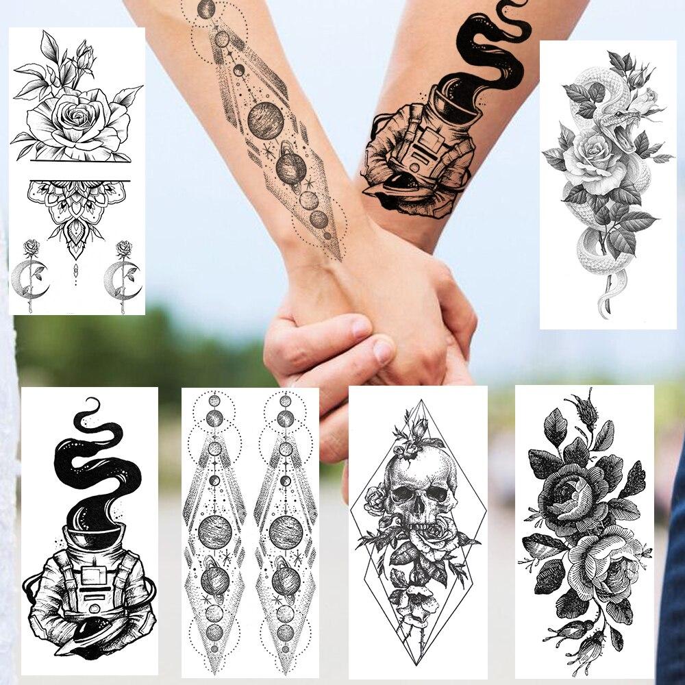 Moda planetas tatuajes temporales calcomanías geométricas joyas falsas decoración tatuaje serpiente negra flor muerte calavera tatuaje para adultos