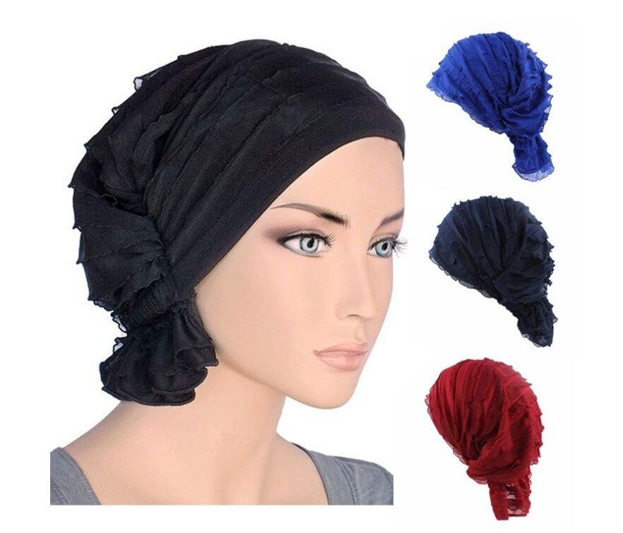 Nueva de moda de gasa de las mujeres musulmán, volante cáncer quimioterapia sombrero de la bufanda de turbante cabeza gorro envolvente gorros impresos sombreros para dama