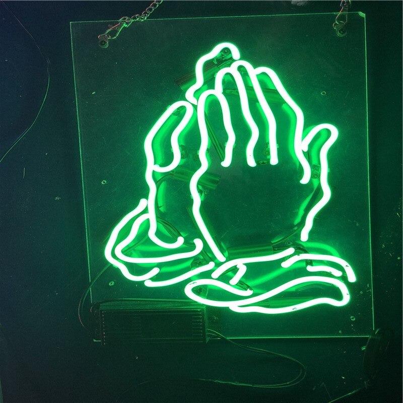 La main de prière néon signe Tube de verre artisanat néon signe loisirs décor chambre emblématique signe néon lumière anuncio luminoso