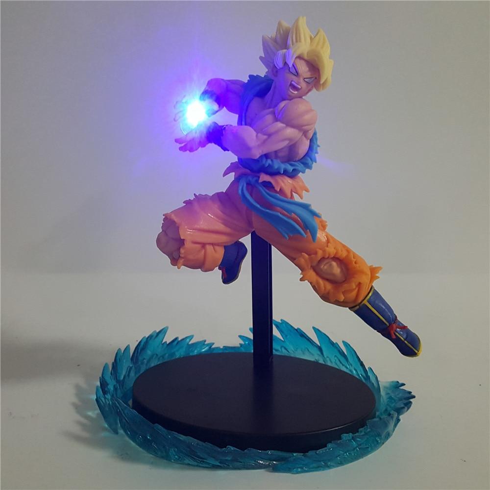 Dragon Ball Super Son Goku Figure LED Night Light Home Decorative Lamp Kamehameha Yellow Hair Goku LED Light for Kids Gift