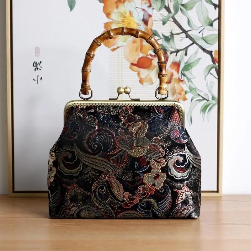 Bamboo lock Shell Bags Vintage Flowers Designer Bag Chain Women Shoulder Crossbody Bag Pure Handmade Women's Handbags Purses