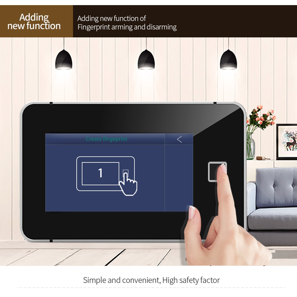 IOS Android APP SIM WIFI GSM Security Alarm System Fingerprint Arming LCD Touch Keyboard Remote Control Autodial Siren Sensor enlarge