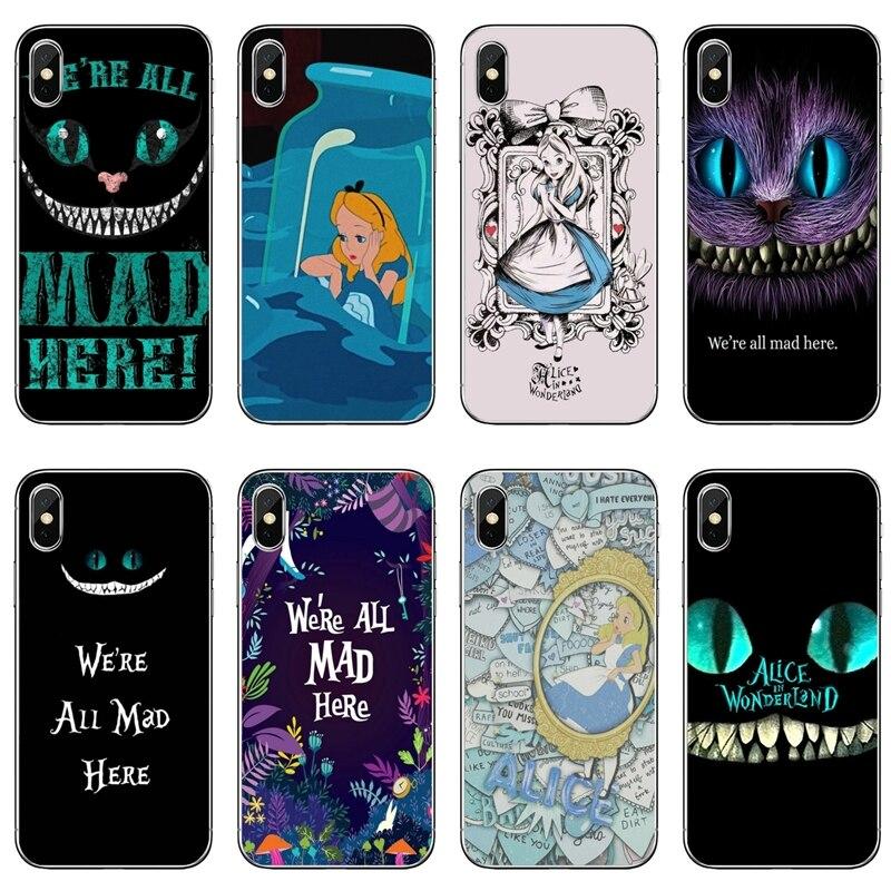 Alice, estamos locos Cheshire Cat caja del teléfono móvil para Samsung Galaxy J7 J5 primer pro J3 A7 A5 A3 2018, 2017, 2016, 2015