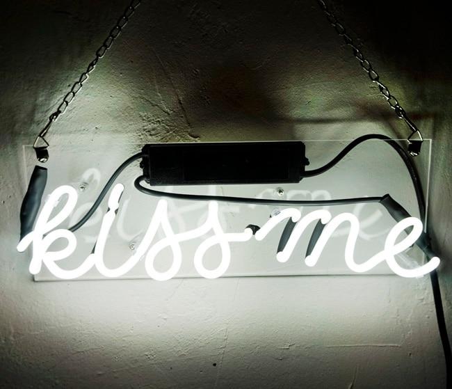 النيون ضوء تسجيل مخصص اسم البيرة بار ديكور المنزل المفتوحة مخزن مصباح عرض يقبلني-أبيض 12''x5''
