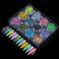 12pcsset nail glitter rose gold colors sandy powder shiny luxury sparkles nail art sequins pigment flakes dust 3d decorations