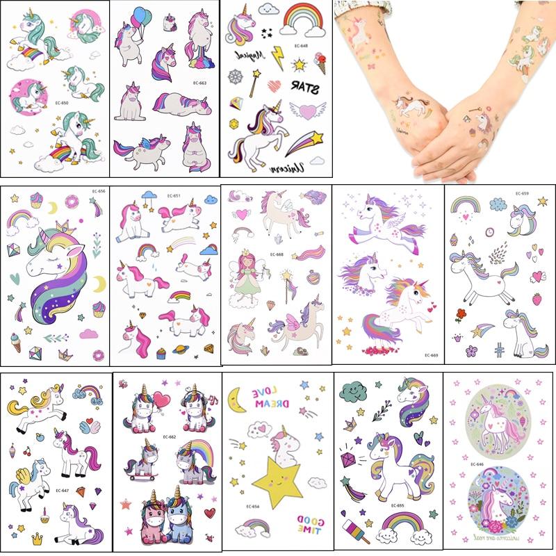 1/3/5/8 hojas unicornio tatuaje de chica temporal Favor unicornio decoración de fiesta de cumpleaños tatuaje adhesivo con dibujo de Animal pegatinas