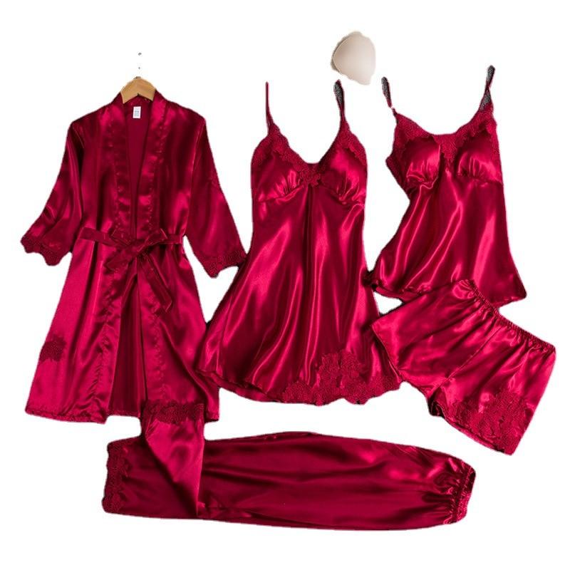بيجامات حربية للبنات بيجامات أنثوية من خمس قطع من الحرير الرقيق بحمالات بحمالات عند الصدر فستان نوم للسيدات