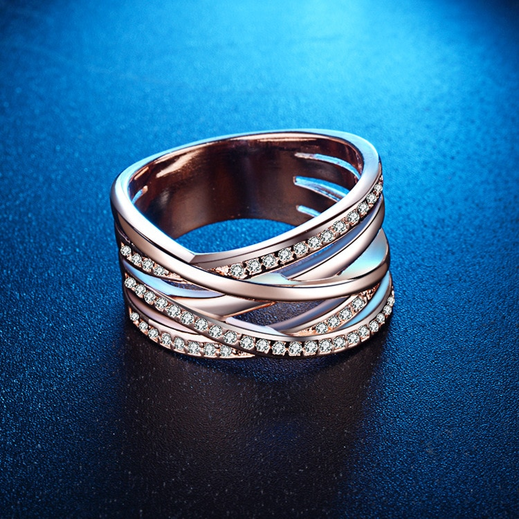 925 Sterling Silver Wide Silver Ring Cross Silver Jewelry Rings for Women Rose Gold Ring