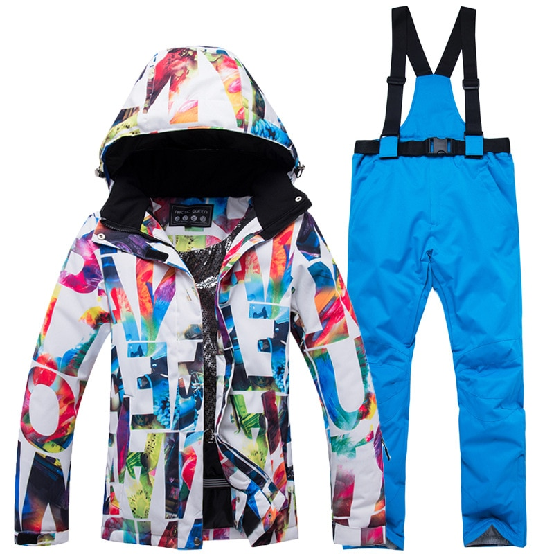 Winter Thick Warm Ski Suit Women Waterproof Skiing and Snowboarding Jacket Windproof Pants Set Female Snow Costumes Outdoor Wear winter thick warm ski suit women waterproof skiing and snowboarding jacket windproof pants set female snow costumes outdoor wear