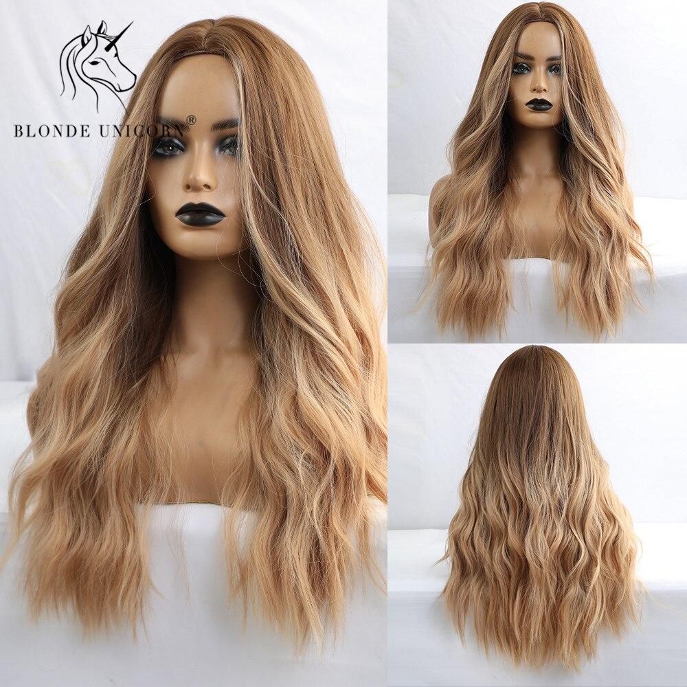 Rubia unicornio Ombre sintética marrón onda Natural centro parte pelucas de cabello resistente al calor Cosplay del pelo pelucas para mujeres negras