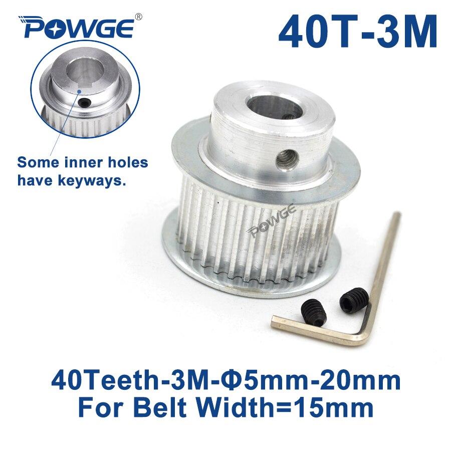 Powge 40 Tanden Htd 3M Synchrone Katrol Boring 6/8/10/12/14/15 /16/17/19/20 Mm Voor Breedte 15 Mm HTD3M Distributieriem 40 Tanden 40 T