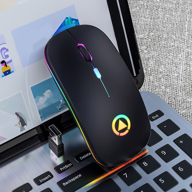 Ultra-thin LED Colorful Lights Rechargeable Mouse Mini Wireless Mute USB Optical Ergonomic Gaming Mouse Notebook Computer Mouse 2
