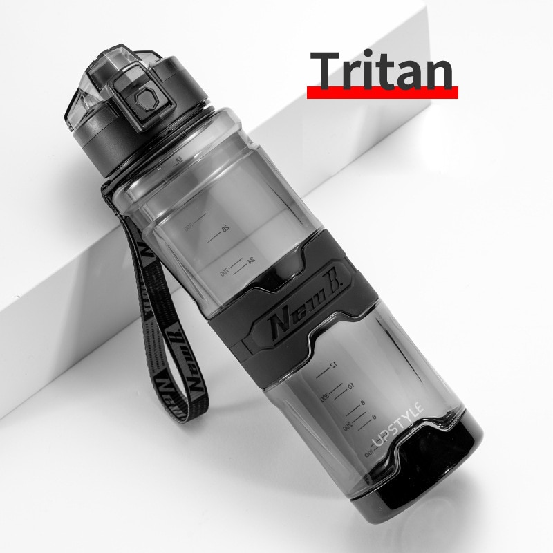 Transparent large capacity water bottle With rope sports plastic water bottles 1000ml Fitness travel