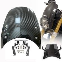 Pare-brise de phare de moto en Fiber de carbone pour BMW R Nine T 2014, déflecteur de vent avec support