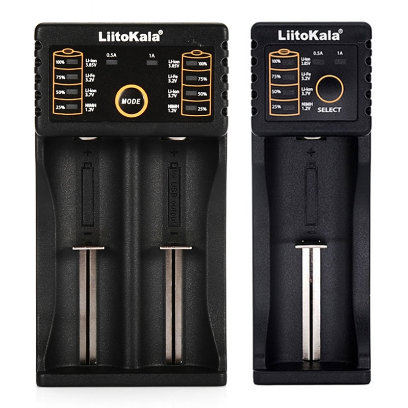 Liitokala 2 Pcs Battery Charger: 1 Pcs Lii-100B Battery Charger for 18650 26650 Ni-Mh Nicd Rechargeable Battery & 1 Pcs Lii-202