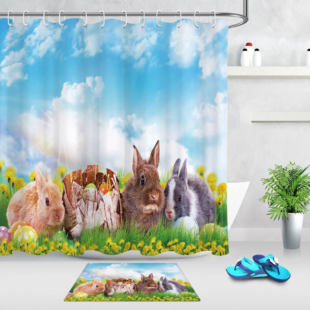 Cortina de ducha primavera Pascua Set Pascua conejito cielo azul pastizal impermeable cortina para el baño con tejido de poliéster alfombra antideslizante para Baño
