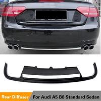 PU Black Painted Car Rear Diffuser Lip Spoiler For Audi A5 B8 Sedan 4 Door Standard 2008 - 2011 Non-Sline Two Styles