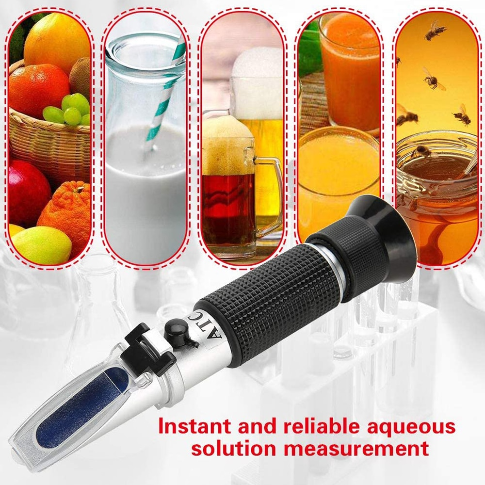 Brix Refractometer with ATC for Liquid Fruit Canned Food Sugar Content Test 0-32% Brix Tester Sugar Saccharimeter Refractometer