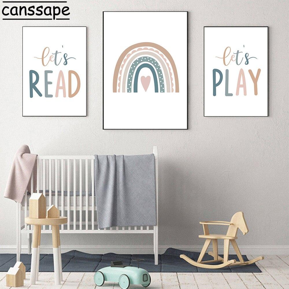 Lets Play – affiche de citations imprimées, toile arc-en-ciel, peinture murale pour chambre denfant, décor de maison